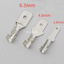100 pces 2.8mm 4.8mm 6.3mm masculino uninsulated spade friso conector bloco de terminais
