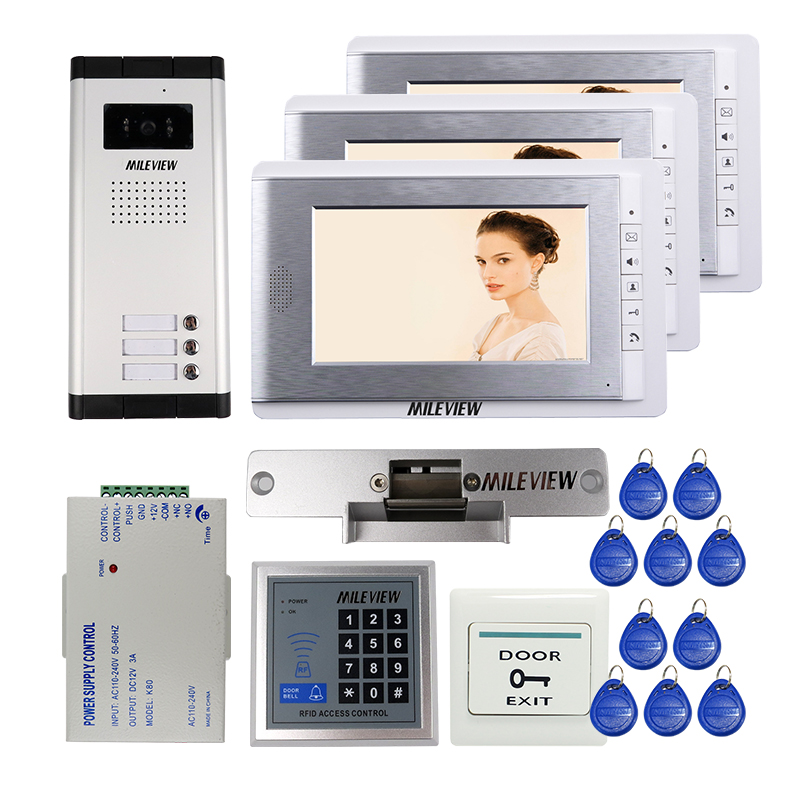 Free Shipping Wired 7 Color Screen Video Intercom Door Phone + Ourdoor Bell Camera 3 Buttons RFID Access System + Strike Lock new 7 inch color video door phone intercom system 2 monitors rfid access door bell camera 250mm long strike lock free shipping