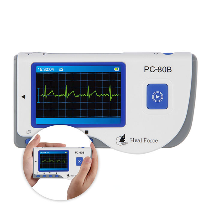 Heal Force PC-80B Easy ECG Monitor Measuring Heart Cardiac Detector LCD Electrocardiogram Heart Monitor Monitoring heal force prince 180b blue color portable heart ecg monitor electrocardiogram contain ecg lead wire