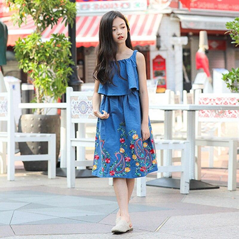 Été 2018 sans manches coton bébé princesse filles robe pour enfants vêtements enfant en bas âge grande fille adolescente Denim robe 7-14 ans