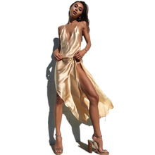 Sexy Silk Slip Satin Spaghetti Strap Long Dress Women Summer Maxi Dress Sleeveless Backless Deep V Neck Party Club Dress red satin deep v neck slit hem maxi slip dress