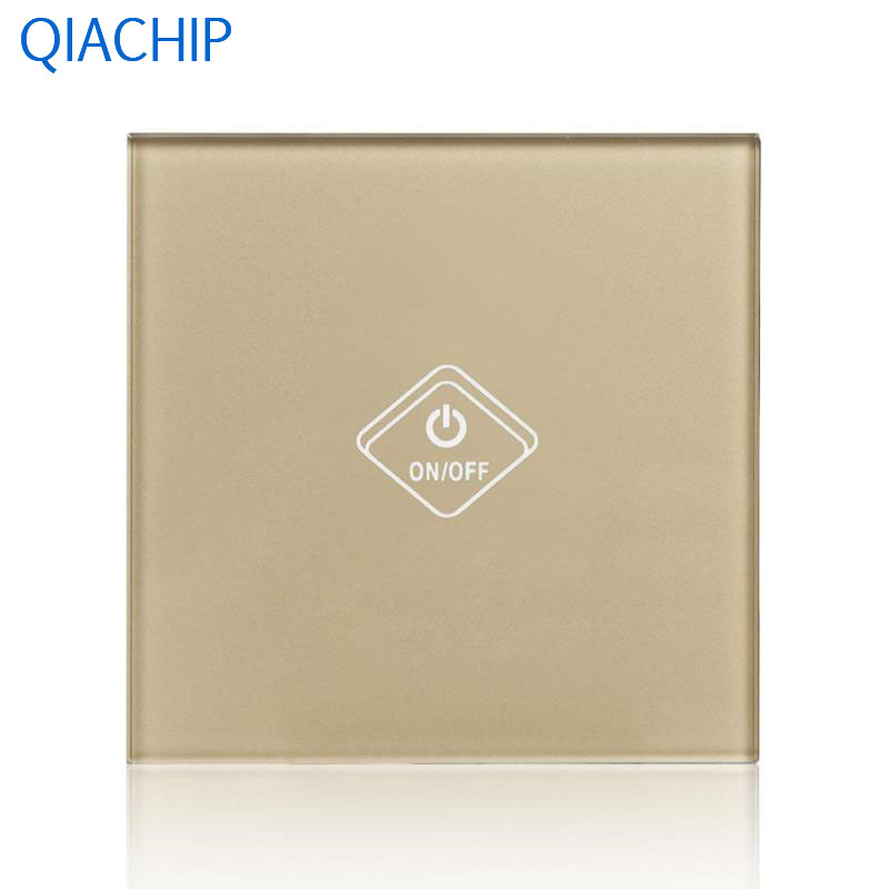 UK Standard WiFi Smart Touch Switch 1 Gang Light Wall Switch Gold Tempered Glass Panel APP Remote Control Switch No Hub Required us standard 1gang 1way remote control light touch switch with tempered glass panel 110 240v for smart home hospital switches