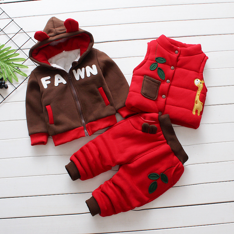 3pcs Kids Boy Clothing Sets Winter 2018 Velvet Warm Baby Clothes Set Cartoon Dear Hooded Outfits Set for Girl Autumn Sets AA201 1 5y boys high quality fashion gentlemen cartoon plaid patchwork clothing sets 3pcs kids clothes sets boy handsome coat set boy