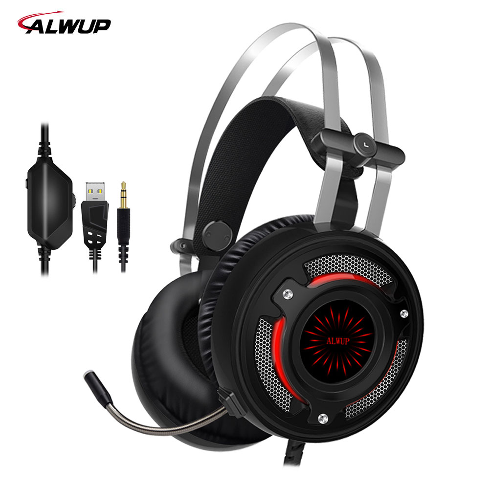 ALWUP A6 USB Headphone for computer PC games with splitter wired led gaming headset ps4 with microphone each g8200 gaming headphone 7 1 surround usb vibration game headset headband earphone with mic led light for fone pc gamer ps4