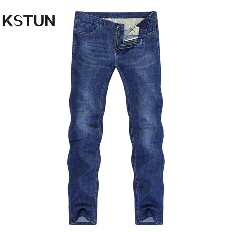 Famous Brand Jeans Men Regular Fit Stretch Direct Straight Dark Blue Business Causal Pants  Men's Trousers Washed Large Size 38
