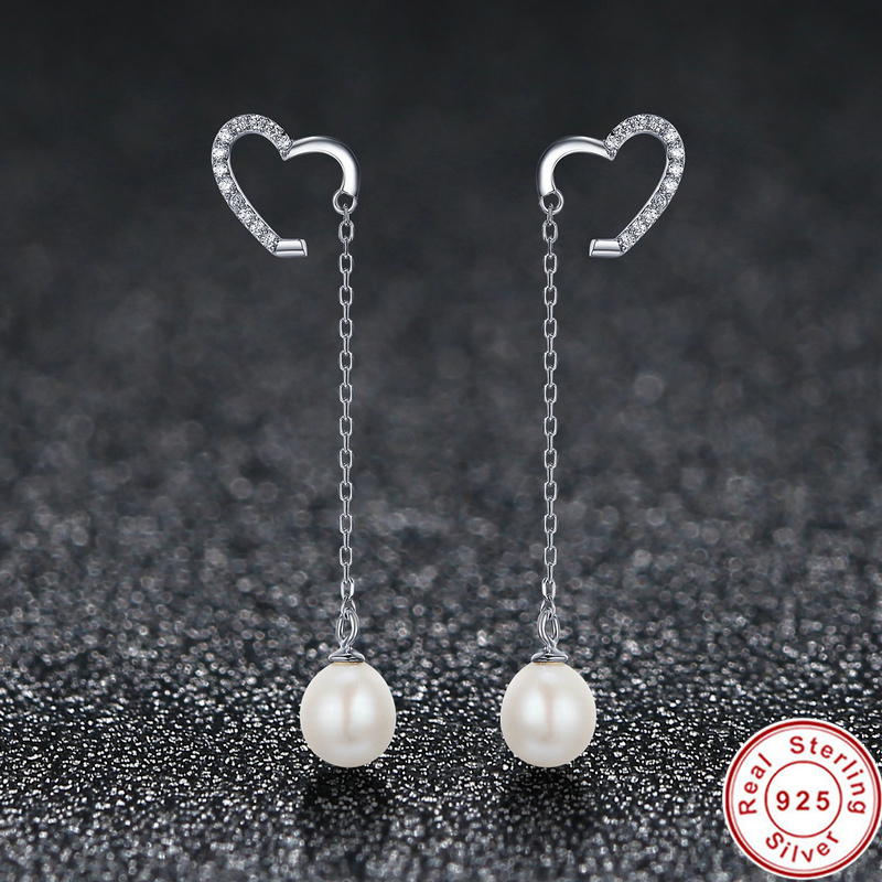 Newly Arrived Elegant 925 Sterling Silver Heart Shaped Pearl Earrings Long Tel Wedding Engagement Jewelry For Women In Drop From