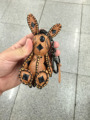 leather bunny keychains brown gold real leather skins cool keyring cute bag charm bunny dolls purse charm