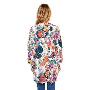 Women Wrap Floral Print Bat Sleeve Kimono Long Chiffon Wrap 1