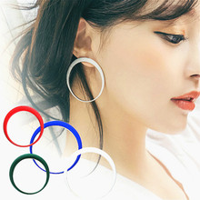 Simple Geometric Big Round Circle Earrings For Women Bijoux New Fashion Jewelry Wholesale Cute Gift Red Blue Black White Colors