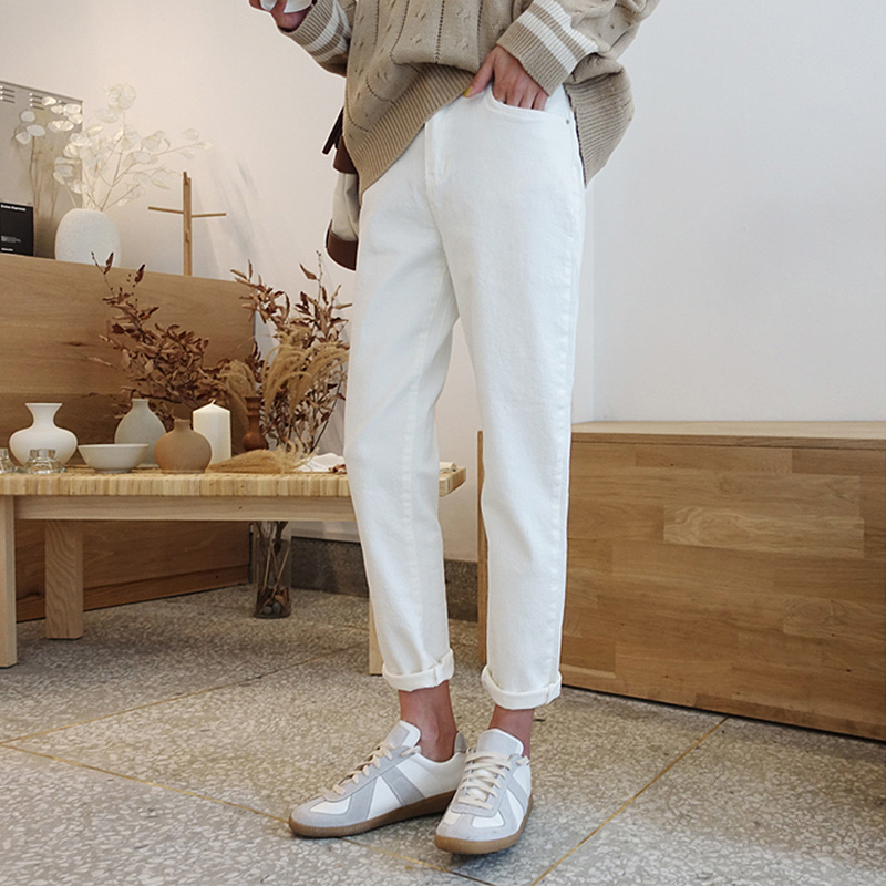 2019 Fashion White Apricot Jeans Woman High Waist Boyfriend Jeans For Women Plus Size Denim Mom Jeans Denim Pants Jean Femme