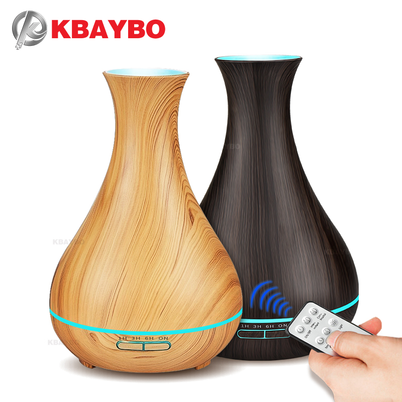 купить Remote Control 550ml Aroma Essential Oil Diffuser Ultrasonic Air Humidifier Wood Grain Cool Mist maker LED Night Light for Home по цене 1871.29 рублей