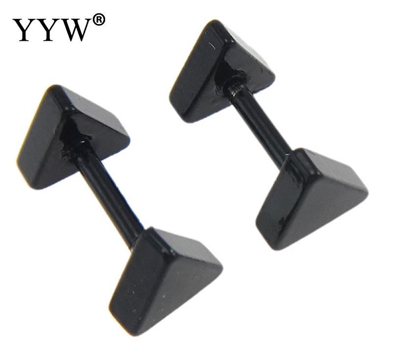 2018 New Men Women Jewelry Black Tone Piercing Stainless Steel Stud Earrings Punk Jewelry Triangle Stainless Steel Stud Earrings