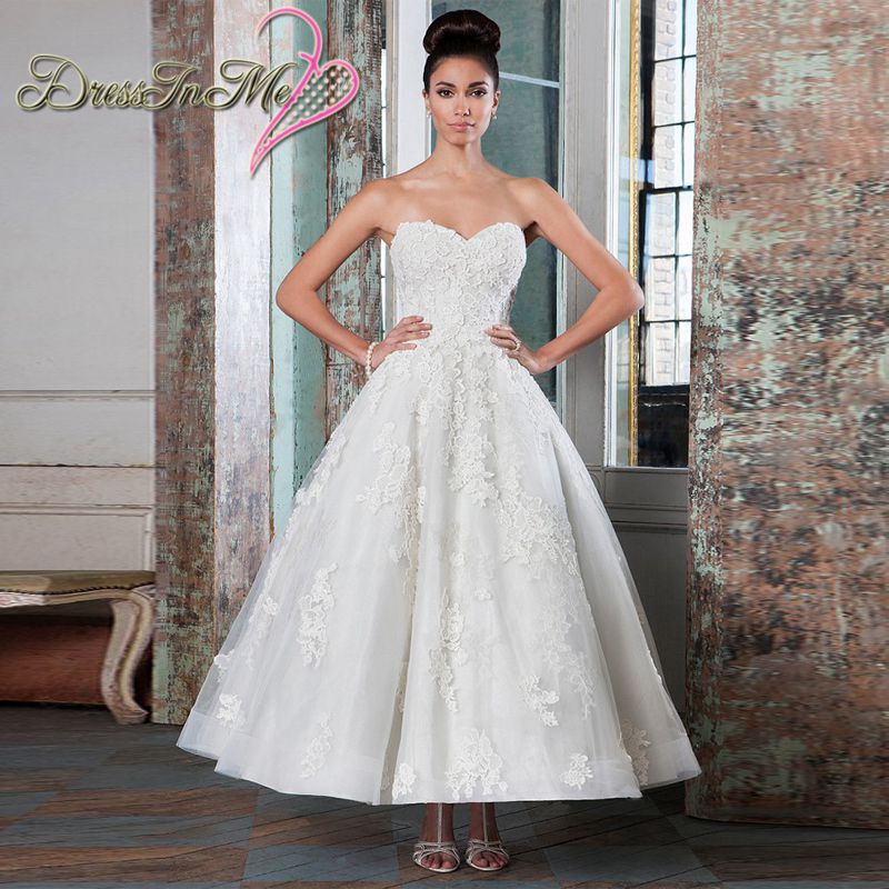 strapless sweetheart lace ankle length wedding dress reception dress low back destination bridal gown