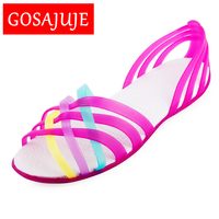 2016 Summer European Style Flat Hole Shoes Crystal Jelly Shoes Fashion Sexy Casual Open Toe Sandals