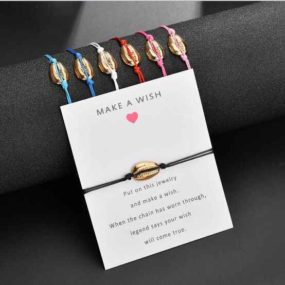 1pc Hot Sale Fashion Wholesale  paua genuine cowrie sea shell bracelet Paper Wish Card Gift Handmade Red String  7789-7795