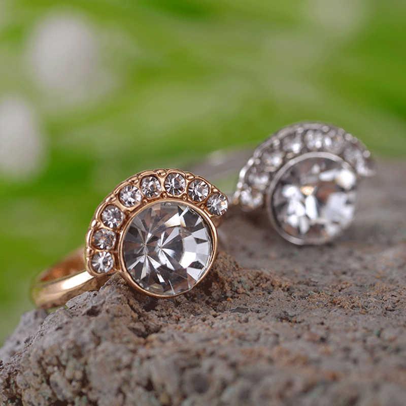 Golden Simple Geometric Shape Rhinestone Zircon New Moon Star แหวนผู้หญิงเครื่องประดับคริสตัลของขวัญใหม่ปี
