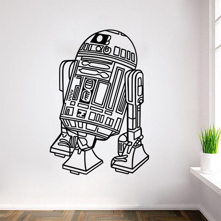 L11 Звездные войны Робот стены Стикеры Цитата R2 D2 Наклейка виниловая Домашний Декор дети Geek Gamer Съемный Фреска Спальня обои ...