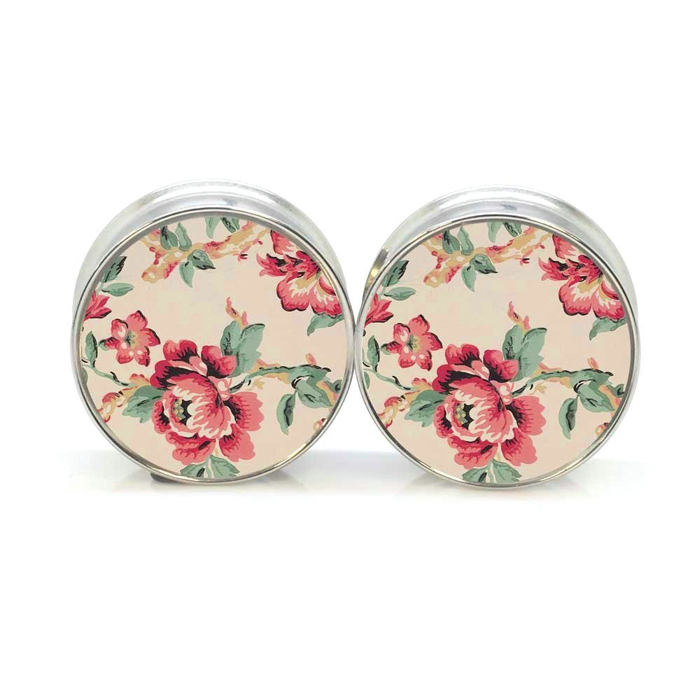1 pair plugs stainless steel vintage flower double flare ear plug gauges tunnel body piercing jewelry PSP0020