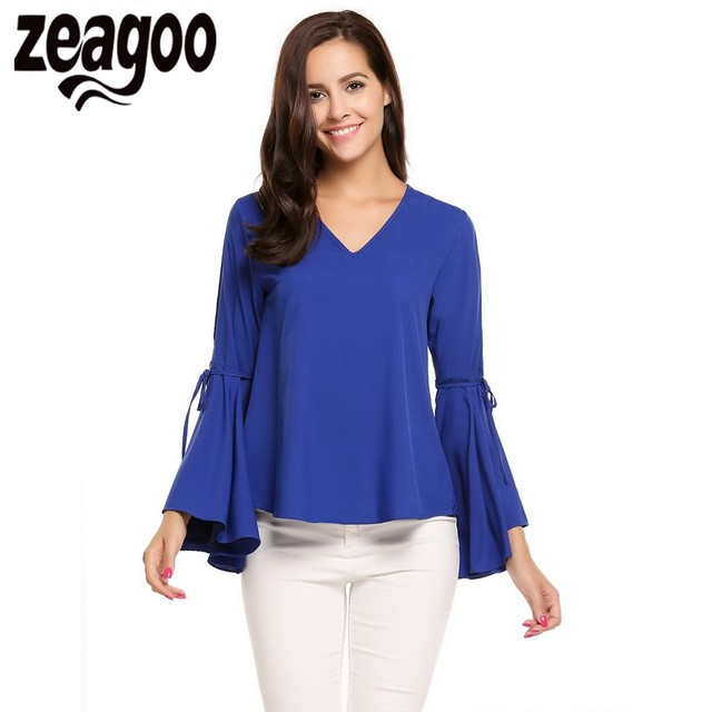 18c7bdd421 Zeagoo Women Casual V-Neck Blouses Long Flare Sleeve Solid Pullover Loose  Blouse Tops Shirts Fashion Women s Clothing Plus Size