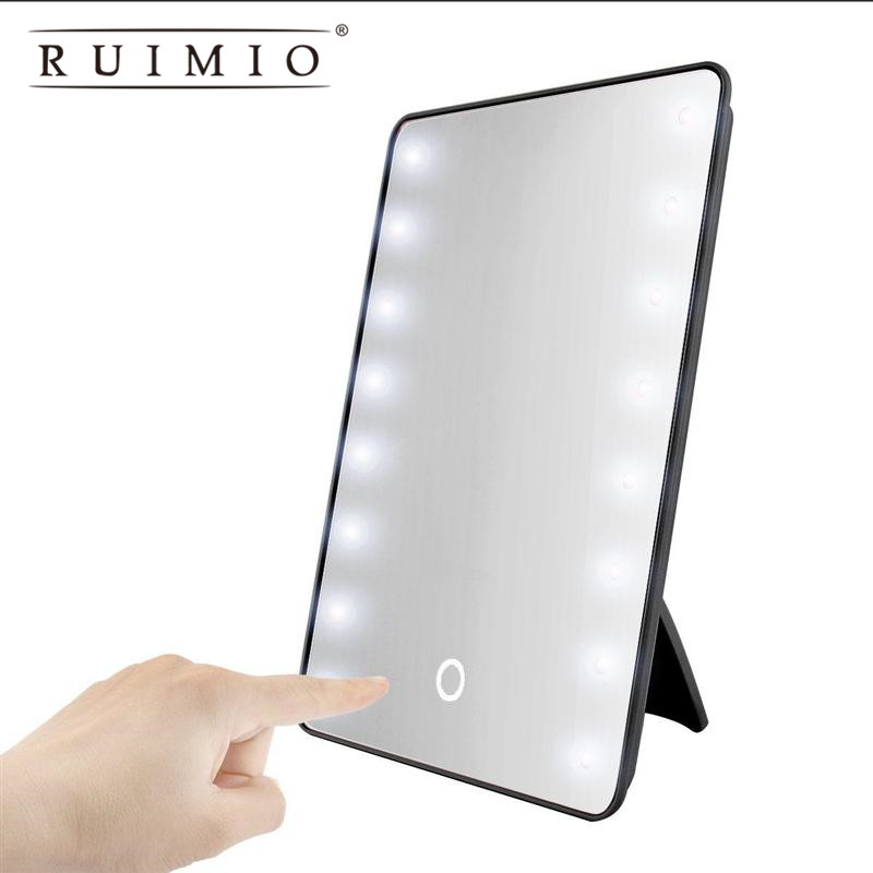16 LED Cosmetic <font><b>Mirror</b></font> Makeup <font><b>Mirror</b></font> Touch Dimmer Switch Battery Operated Vanity <font><b>Mirror</b></font> with Stand for Tabletop