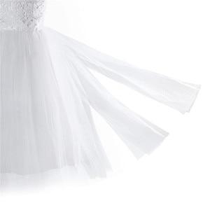 Image 5 - 2020 Girls Mesh Spaghetti Shoulder Straps Flower Girl Dress High waisted Princess Pageant Ball Gown Wedding Party Dress SZ 2 14