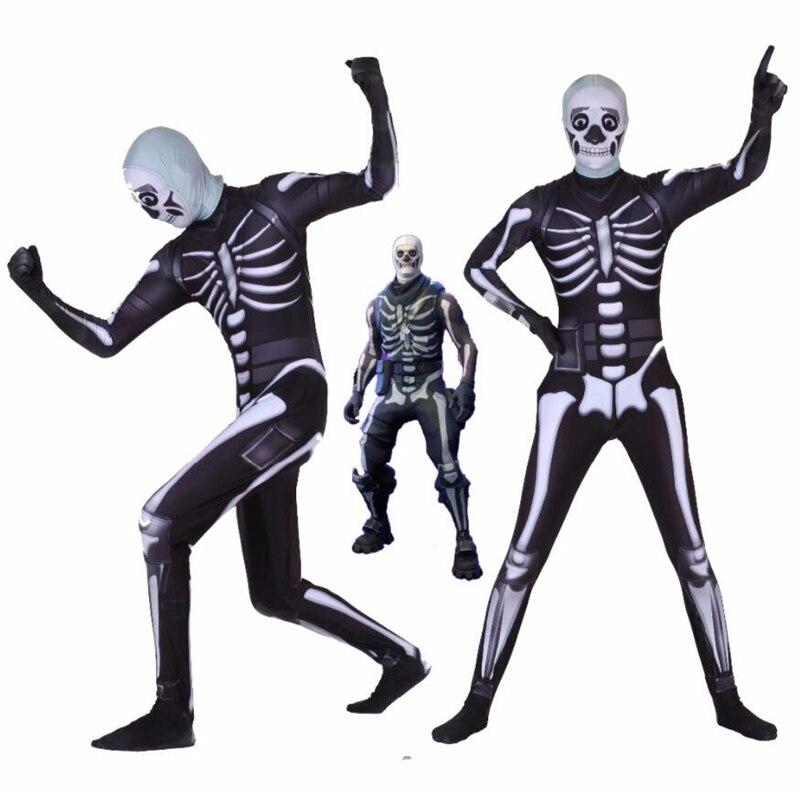 Adult Kids Game Cosplay Costume Skull Trooper Human Zentai Bodysuit Suit Jumpsuits Halloween