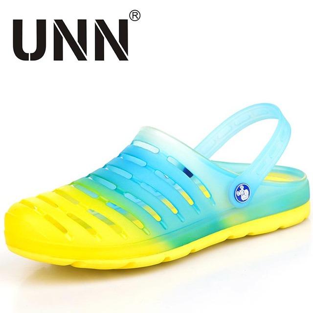 El Tamaño grande de Verano para hombres Zuecos jalea zuecos klompen cómodo sandalias de playa zapatos del jardín del agujero del color del caramelo pisos
