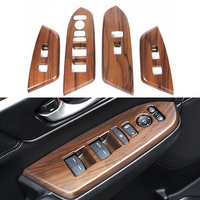 4pcs Set Car Interior Mouldings Peach Wood Grain Window Switch Panel Cover For Honda CRV CR