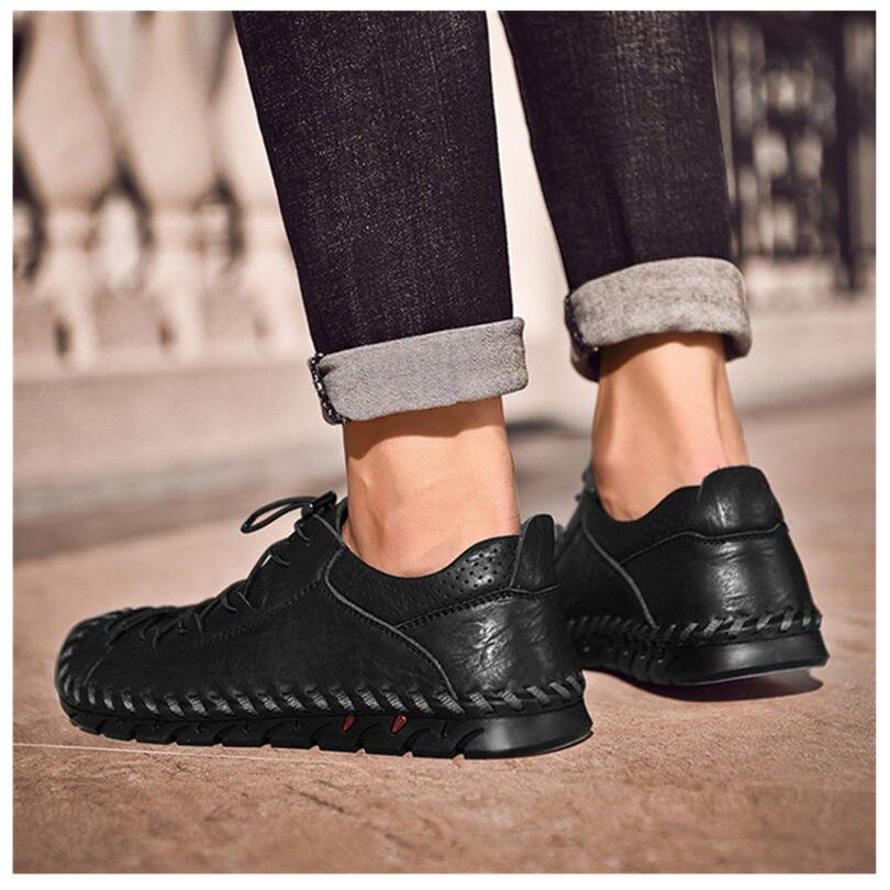 up Outono Homme Sale Genuíno Mocassins Couro Sapatos gray Homens Casuais Lace 2018 Handmade Black Novos Hot Vintage Do Flats Chaussure 6FqBg7T6wx