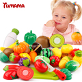 Tumama 13 pçs/set comida de plástico de cozinha fruta vegetal corte crianças pretend play toy educacional cozinheiro cosplay de segurança venda quente