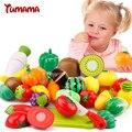 Tumama 13 unids/set plástico de cocina fruta vegetal de corte niños pretend play juguetes educativos cocinero cosplay venta caliente de seguridad