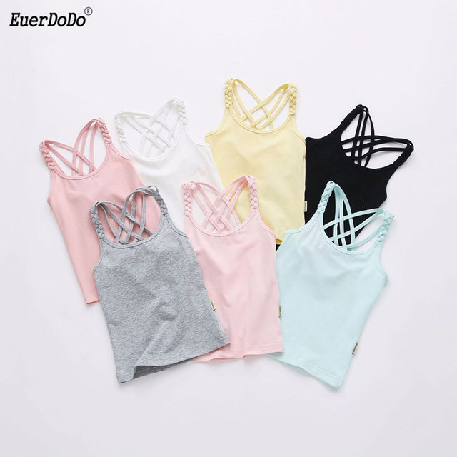 2019 Girls T-shirt Colored Tops For Kids Cotton Children Underwear Teenager Undershirt Girl Camisole Baby Singlet Clothing
