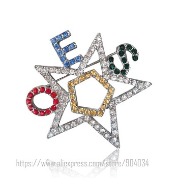 20pcs free ship NEW OES Jewelry The Order of The Eastern Star Brooch crystal custom  Pin Jewelry