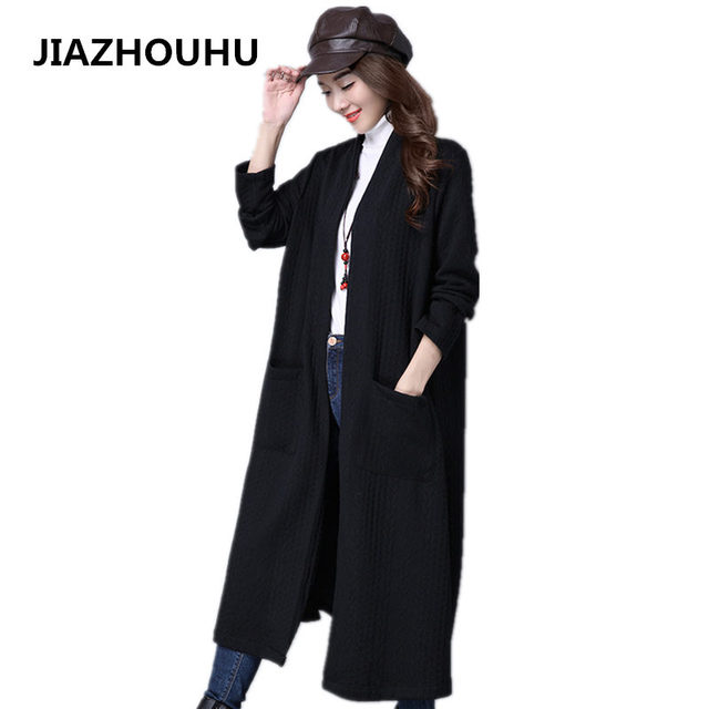 2017 Korean Spring Autumn Women Trench Coat Female Fashion Pocket Red/Black Solod Color Cardigan Long Loose Trench Windbreaker