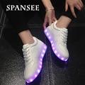 Spansee cesta lumineuse levou luz shoes amantes casuais femme big crianças formadores sneakers luminosos brilhantes shoes infantil feminino