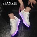 Spansee cesta luz led lumineuse niños grandes entrenadores shoes amantes ocasionales femme glowing luminoso sneakers shoes infantil femenina