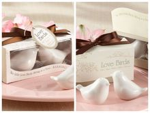 50Pcs/Lot(25boxes) Event and Party Favors of Love birds Ceramic Salt and Pepper Shakers Wedding favors for Party Decoration gift