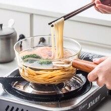 Стеклянный молочный горшок с деревянной ручкой 400 мл/600 мл, кухонный горшок для салата, лапши, газовая плита, кухонная посуда