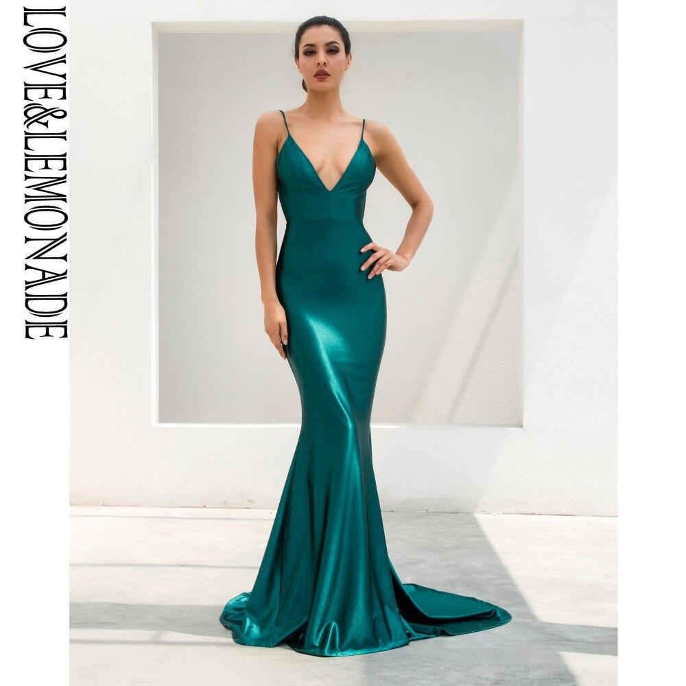"""Miłość i lemoniada. Zielony głęboki dekoltem w kształcie litery """"v"""" powrót Slim Flash materiał sukienka w dużym rozmiarze LM1099 w Suknie od Odzież damska na  Grupa 3"""