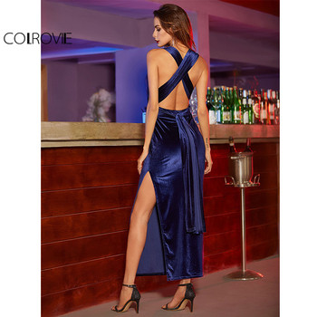 COLROVIE Womens Sexy Dresses Party Night Club Dress Elegant Dress Sexy Blue High Slit Velvet Convertible Backless Dress pajamas