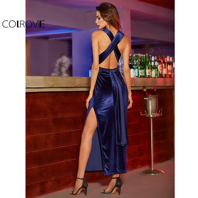 12df855f20c1 COLROVIE Womens Sexy Dresses Party Night Club Dress Elegant Dress Sexy Blue  High Slit Velvet Convertible Backless Dress