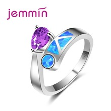 Jemmin Luxury Brand Purple Crystal Wedding Engagement Ring Fine 925 Sterling Silver Party Finger Rings Women Jewelry Accessories