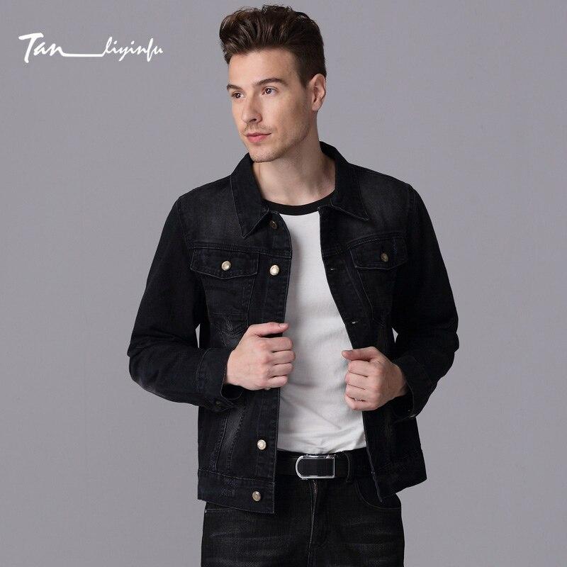 Tanliyinfu spring and summer new high-quality black men's denim jacket cotton 70% polyester fiber 26% spandex 2% slim men jacket