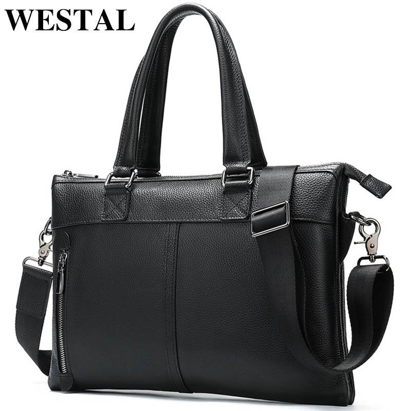 WESTAL Business Men Briecase Bag Genuine Leather Laptop Bags For Document Men Messenger Bag Lawyer/Office Bags For Men Briefcase