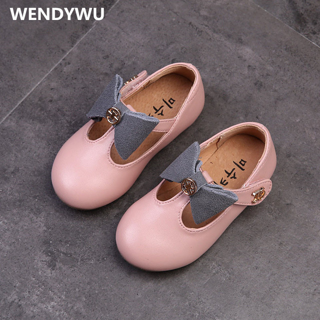 WENDYWU spring autumn girls genuine leather shoes baby girl fashion flats toddler brand black bow kid pink strap silvery