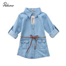Helen115 Lovely Kids baby girl clothes Full Sleeve Jeans Denim Pocket Loose Shirt Dresses 2-7Years