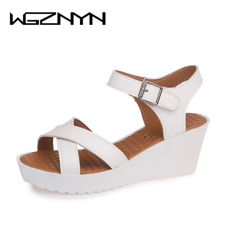 WGZNYN 2018 Women Sandals Casual Woman Shoes Platform Summer Wedges Sandals Peep Toe Ladies Shoes Black Size 35-44 nemaone new 2017 women sandals summer style shoes woman platform sandals women casual open toe wedges sandals women shoes