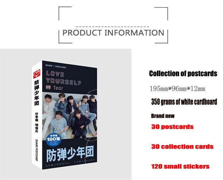180pcs Set Korea Lee Jong Suk Paper Postcard Greeting Card