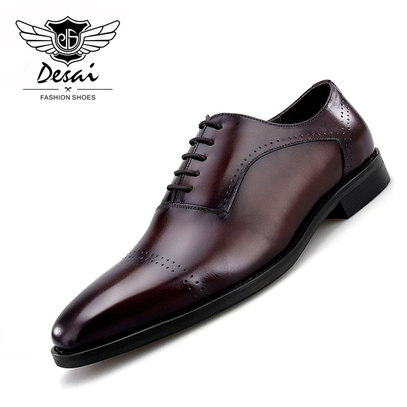 2019 Spring New Men s Leather Retro British Pointed Toe Genuine Leather Shoes Carved Business Dress