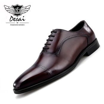 2019 Spring New Men's Leather Retro British Pointed Toe Genuine Leather Shoes Carved Business Dress Men's Oxford Shoes desai men s shoes genuine leather british toe carved business shoes for men classic dress formal wedding 2020 new
